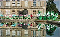BNPS.co.uk (01202 558833)<br /> Pic: Longleat/BNPS<br /> <br /> Silk snowdrops, crocus flowers and a huge new bronze lion are stored in front of Longleat House.<br /> <br /> A team of highly skilled artisans from Zigong in China's Sichuan province are hard at work producing thousands of illuminated lanterns for the Longleat Festival of light this autumn.<br /> <br /> The annual event is the largest ever staged in the UK, and features over 30,000 lightbulbs, 20km of silk and 4km of LED's, along with a 20 metre tall cake and life size porcelain elephants.