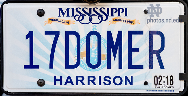 "April 9, 2017; License plate, Mississippi ""17DOMER"" (Photo by Matt Cashore/University of Notre Dame)"