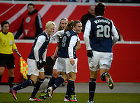Offenbach, Germany, Friday, April 05 2013: Womans, Germany vs. USA, in the Stadium in Offenbach,    Megan Rapinoe (USA) celebrates the Goal..