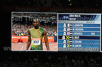 Usain Bolt of Jamaica prepares to run the Mens 100m race at the Sainsbury Anniversary Games, Olympic Stadium, London England, Friday 26th July 2013-Copyright owned by Jeff Thomas Photography-www.jaypics.photoshelter.com-07837 386244. No pictures must be copied or downloaded without the authorisation of the copyright owner.