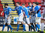 St Johnstone v Hamilton Accies&hellip;28.01.17     SPFL    McDiarmid Park<br />Graham Cummins celebrates his first goal with Brian Easton and Blair Alston<br />Picture by Graeme Hart.<br />Copyright Perthshire Picture Agency<br />Tel: 01738 623350  Mobile: 07990 594431