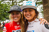 "BURLEIGH HEADS, Queensland/Australia (Saturday, 29 January, 2012) –Leila Hurst (HAW)  and Alessa Quizon (HAW).                         Caio Ibelli (BRA) and Leila Hurst (HAW) have claimed the Men's and Women's ASP World Junior Titles at the Billabong World Junior Championships today. The pair join a prestigious list of former ASP World Junior Champions, including: Adriano De Souza (BRA), Joel Parkinson (AUS), Andy Irons (AUS), Jessi Miley-Dyer (AUS) and Sally Fitzgibbons (AUS). ..Wade Carmichael (AUS) and Alessa Quizon (HAW) were also amongst the winners today, taking out the third and final event of the ASP World Junior Title Series, the Billabong ASP World Junior Championships...The Men's ASP World Junior Title race saw all the frontrunners bow out early today with Jack Freestone (AUS) eliminated by Medi Veminardi (REU) and Ian Gouveia (BRA) taken out by Wade Carmichael (AUS) in the Quarterfinals. Carmichael had a sensational outing at Burleigh Heads this week, gaining entry into the event with a win at the Von Zipper trials and then sticking it to the world's best junior surfers with a win at the Billabong ASP World Junior Championships...Another frontrunner, Garrett Parkes (AUS), needed to advance out of today's Quarterfinals to clinch the 2011 ASP World Junior Title, but was halted by South American sensation Filipe Toledo (BRA). Parkes's ousting in the Quarterfinals resulted in a tie with Caio Ibelli (BRA) for the top spot on the ASP World Junior Title rankings, requiring a ""Surf-Off"" to determine the champion...Caio Ibelli (BRA) started the Surf-Off with a couple of minor scores, it was clear that he was going for something big. Garret Parkes (AUS) on the other hand started chipping away at the lead, posting some scores in the good range to give him an early lead. Ibelli found a wave that linked up and unleashed some solid carves and a massive air-reverse to score an 8.67 (out of a possible 10), to swing momentum his way and take the lead. P"