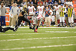 New Orleans Saints Jonathan Casillas (52) vs. New York Giants Hakeen Nicks (88) at the Superdome in New Orleans, La. on Monday, November 28, 2011. New Orleans won 49-24.