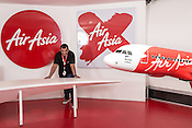 """Group CEO and founder of Air Asia, Anthony Francis """"Tony"""" Fernandes (52) poses for a portrait at the Air Asia corporate office at the old airport, LCCT (Low Cost Carrier Terminal) in Kuala Lumpur, Malaysia."""