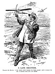 """A Late Beginner. Haldane (the Hawker). """"I've only just taken to this sport; But I mean to be a match for any of them."""" (an Edwardian era cartoon of early aviation as Richard Haldane throws his plane to prepare an air force while above him fly the planes of France and Germany)"""