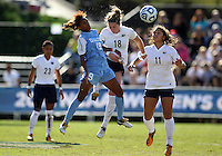 SAN DIEGO, CA - DECEMBER 02, 2012:  Crystal Dunn (19) of the University of North Carolina goes up for a header against Maddy Evans (18) of Penn State University during the NCAA 2012 women's college championship match, at Torero Stadium, in San Diego, CA, on Sunday, December 02 2012. Carolina won 4-1.