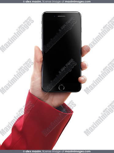 Woman hand holding Apple iPhone 7 Plus with blank black screen isolated on white background