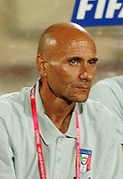 Italy's Head Coach Francesco Rocca  stands on the field before the match against Hungary during the FIFA Under 20 World Cup Quarter-final match at the Mubarak Stadium  in Suez, Egypt, on October 09, 2009. Hungary won 2-3 in overtime.