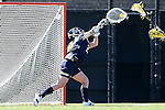 DURHAM, NC - FEBRUARY 26: Notre Dame's Samantha Giacolone makes a save. The Duke University Blue Devils hosted the University of Notre Dame Fighting Irish on February, 26, 2017, at Koskinen Stadium in Durham, NC in a Division I College Women's Lacrosse match. Notre Dame won the game 12-11.