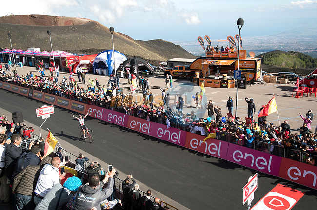 Jan Polanc (SLO) UAE Team Emirates wins Stage 4 of the 100th edition of the Giro d'Italia 2017, running 181km from Cefalu to Mount Etna, Sicily, Italy. 9th May 2017.<br /> Picture: LaPresse/Massimo Paolone | Cyclefile<br /> <br /> <br /> All photos usage must carry mandatory copyright credit (&copy; Cyclefile | LaPresse/Massimo Paolone)