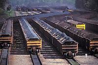 Mining, transportation of iron ore for exportation in railway wagons at Tubarao Harbour in Vitoria city, Espirito Santo State, Brazil.