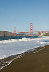 San Francisco: Baker Beach with Golden Gate Bridge in background.  Photo # 2-casanf76418.  Photo copyright Lee Foster