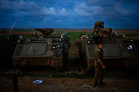 Kefar Azza, Israel Dec. 29, 2008.IDF units on alert less than 3km from Gaza's borderline. After several weeks of total closure, Israel has launched its most important military operation ever in the Gaza strip, following Hamas' refusal to extend the 6 months truce.