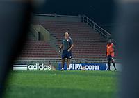Head Coach Wilmer Cabrera training with the U.S. Under-17 Men in Kano, Nigeria.