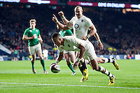 Anthony Watson of England scores a try in the second half. RBS Six Nations match between England and Ireland on February 27, 2016 at Twickenham Stadium in London, England. Photo by: Patrick Khachfe / Onside Images