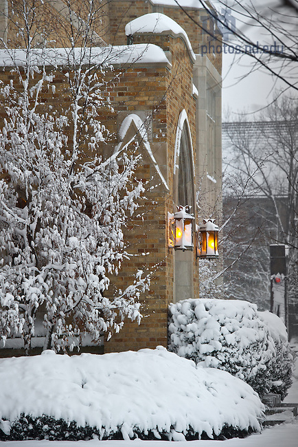 Jan. 22, 2013; Hurley entrance after a snowfall...Photo by Matt Cashore/University of Notre Dame