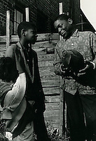 1966 October 27..Historical...Shot of the block's football hero.taken on Lavale Street..Sam McKay.NEG# SLM66-10-35.NRHA# 4320..