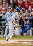 13 October 2016: Los Angeles Dodgers infielder Corey Seager in action during the NLDS Game 5 against the Washington Nationals at Nationals Park in Washington, DC. The Dodgers edged out the Nationals 4-3, to take Game 5, and the Series, 3 games to 2, moving on to the National League Championship against the Chicago Cubs. Mandatory Credit: Ed Wolfstein Photo *** RAW (NEF) Image File Available ***