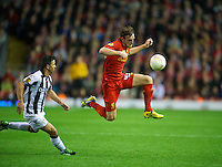LIVERPOOL, ENGLAND - Thursday, October 4, 2012: Liverpool's Jack Robinson in action against Udinese Calcio during the UEFA Europa League Group A match at Anfield. (Pic by David Rawcliffe/Propaganda)