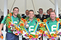 KAATSEN: FRANEKER: Sjûkelân, 31-07-2013, 160e PC Kaatsen, winnend Partuur, Hylke Bruinsma, Renze Pieter Hiemstra werd uitgeroepen tot 'Koning', Johan van der Meulen, ©foto Martin de Jong