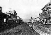 Oakland, California 1884 view looking north up <br />Broadway from 8th St.