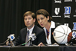 20 April 2007: New Duke University head coach Joanne McCallie (right) and Associate Sports Information Director Lindy Brown (left). Duke University held a press conference to introduce new Women's Basketball head coach Joanne P. McCallie in Cameron Indoor Stadium in Durham, North Carolina.