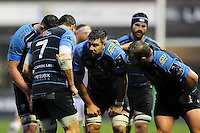 Cardiff Blues players huddle together during a break in play. European Rugby Challenge Cup match, between Cardiff Blues and Bath Rugby on December 10, 2016 at the Cardiff Arms Park in Cardiff, Wales. Photo by: Patrick Khachfe / Onside Images