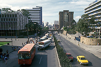 Public buses and other traffic on Seventh Avenue (Septima Avenida) in Guatemala City
