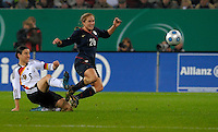 Birgi Prinz (9) against Rachel Buehler (26). US Women's National Team defeated Germany 1-0 at Impuls Arena in Augsburg, Germany on October 29, 2009.