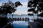 The pool offers view of the surrounding ocean of Nikoi, a private island resort is owned by a group expatriates from Singapore and the United States.