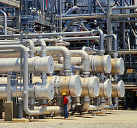 Heat exchangers in oil refinery. Indonesia..