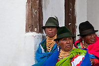 "Old women, wearing colorful clothes, watch a procession during the Inti Raymi celebration in Pichincha province, Ecuador, 26 June 2010. Inti Raymi, ""Festival of the Sun"" in Quechua language, is an ancient spiritual ceremony held in the Indian regions of the Andes, mainly in Ecuador and Peru. The lively celebration, set by the winter solstice, goes on for various days. The highland Indians, wearing beautiful costumes, dance, drink and sing with no rest. Colorful processions in honor of the God Inti (Sun) pass through the mountain villages giving thanks for the harvest and expressing their deep relation to the Mother Earth (Pachamama)."