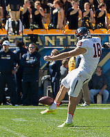 Virginia punter Nicholas Conte. The Pitt Panthers football team defeated the Virginia Cavaliers 26-19 on Saturday October 10, 2015 at Heinz Field, Pittsburgh, Pennsylvania.