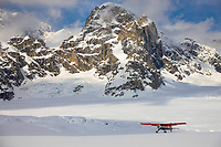 Bush plane on the Ruth glacier, Alaska mountain range, interior, Alaska.