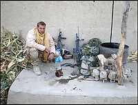 BNPS.co.uk (01202 558833)<br /> Pic: TimelessDeception/BNPS<br /> <br /> After night patrol in helmund 2008.<br /> <br /> A hardened medic in the Special Boat Service has made a drastic career change - after starting out as a professional magician. <br /> <br /> Steel Johnson quit his 10 year military career after enduring two hellish tours of Iraq and Afghanistan.<br /> <br /> The 32-year-old is now fulfilling his childhood dream of performing magic full-time. <br /> <br /> Steel, whose real name is James, has practiced sleight of hand tricks since the age of nine.