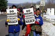 Georgia, Forsyth County, Cumming, 14th, January, 1987. 20,000 people on protest march against racism.
