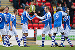 St Johnstone v Kilmarnock....20.10.12      SPL.Murray Davidson celebrates his goal with Dave Mackay.Picture by Graeme Hart..Copyright Perthshire Picture Agency.Tel: 01738 623350  Mobile: 07990 594431