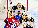 22 November 2008: Boston Bruins' goaltender goaltender Tim Thomas in action during the third period against the Montreal Canadiens at the Bell Centre in Montreal, Quebec, Canada.  After a 2-2 regulation tie and a non-scoring overtime period, the Boston Bruins scored the lone goal in a shootout thus defeating the Canadiens 3-2. The Canadiens, celebrating their 100th season, honored former Montreal goaltender Patrick Roy, and retired his jersey (Number 33) during pre-game ceremonies. ***** Editorial Use Only *****..Mandatory Photo Credit: Ed Wolfstein Photo *** Editorial Sales through Icon Sports Media *** www.iconsportsmedia.com