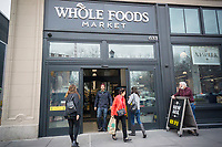 The new Whole Foods Market in Newark, NJ on opening day Wednesday, March 1, 2017. The store is the chain's 17th store to open in New Jersey. The 29,000 square foot store located in the redeveloped former Hahne & Co. department store building is seen as a harbinger of the revitalization of Newark which never fully recovered from the riots in the 1960's.  (© Richard B. Levine)