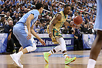 14 March 2015: Notre Dame's Demetrius Jackson (right) and North Carolina's Justin Jackson (left). The Notre Dame Fighting Irish played the University of North Carolina Tar Heels in an NCAA Division I Men's basketball game at the Greensboro Coliseum in Greensboro, North Carolina in the ACC Men's Basketball Tournament quarterfinal game. Notre Dame won the game 90-82.