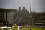 St Mirren 4 The New Saints 1, 19/02/2017. Paisley 2021 Stadium, Scottish Challenge Cup. The Thomas Coats Memorial Church and Coats Observatory visible during the first-half at the Paisley2021 Stadium as Scottish Championship side St Mirren (in white) played Welsh champions The New Saints in the semi-final of the Scottish Challenge Cup for the right to meet Dundee United in the final. The competition was expanded for the 2016-17 season to include four clubs from Wales and Northern Ireland as well as Scottish Premier under-20 teams. Despite trailing at half-time, St Mirren won the match 4-1 watched by a crowd of 2044, including 75 away fans. Photo by Colin McPherson.