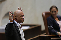 Left wing Meretz parliament member Issawi Frej during a vote on the so-called governability law. The governance law would raise the electoral threshold from 2 percent to 4 percent. Photo by Oren Nahshon
