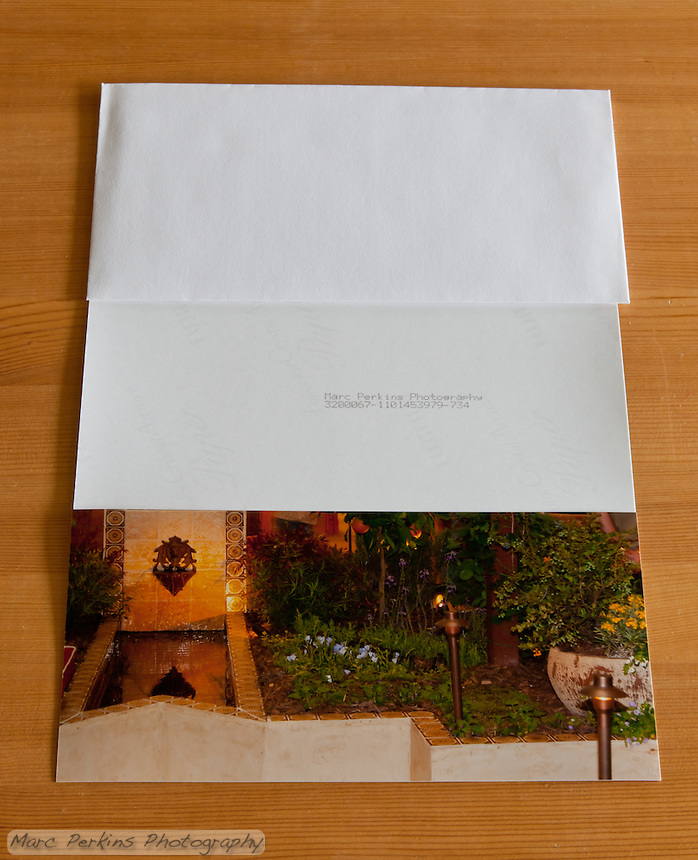 """This was listed as a 4x8"""" greeting card with envelope when I ordered it from Photoshelter; the printing is fine, but the back is hardly card-worthy.  The serial number is presumably always printed, and if you look closely you can see the logo of the Fuji paper splattered across the back.  If you were just going to print a pre-made """"Thanks from the Does"""" card this would be fine; but it's horrible if you want to write anything on it.  Photoshelter has since changed the description of this product to a 4x8"""" print with envelope."""