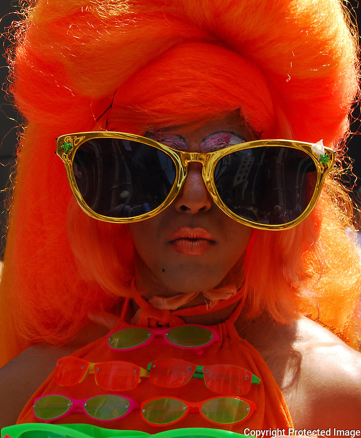 New York City Gay Pride Parade, Orange Hair, Flamboyant Glasses<br />