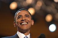 BOSTON, MA - July 27, 2004: Barack Obama's delivers the keynote address at the 2004 Democratic National Convention at the FleetCenter in Boston Massachusetts. Then a relatively unknown Illinois State Senator who was running for an Illinois US Senate seat, Obama's speech propelled him to the forefront of the Democratic party.