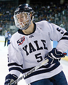 Nick Jaskowiak (Yale - 5) - The Yale University Bulldogs defeated the Air Force Academy Falcons 2-1 (OT) in their East Regional Semi-Final matchup on Friday, March 25, 2011, at Webster Bank Arena at Harbor Yard in Bridgeport, Connecticut.