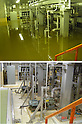 September 6, 2011, Naharamachi, Japan - HSCR condensate transfer pumps are inundated on the basement of the Unit 3 turbine building, top, at the Fukushima No. 2 nuclear power plant in Narahamachi, Fukushima Prefecture, some 12km south of the troubled No. 1 plant, on March 19, 2011, more than a week after an earthquake and ensuing tsunami hit. The same floor is shown in bottom photo taken on August 26. Tokyo Electric Power Co., the operator of the crippled power station, released on September 6 before-and-after photos of the plant. (Photo by TEPCO/AFLO) [0006] -mis-
