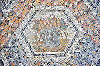 3rd century AD Roman mosaic panel of pears in a basket from Thugga, Tunisia.  The Bardo Museum, Tunis, Tunisia.