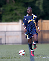 Quinnipiac University forward Demba Sylla (27) looks to pass. Boston College defeated Quinnipiac, 5-0, at Newton Soccer Field, September 1, 2011.