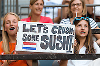 June 23, 2015: Dutch fans with their sign during a round of 16 match between Japan and Netherlands at the FIFA Women's World Cup Canada 2015 at BC Place Stadium on 23 June 2015 in Vancouver, Canada. Japan won 2-1. Sydney Low/AsteriskImages.com